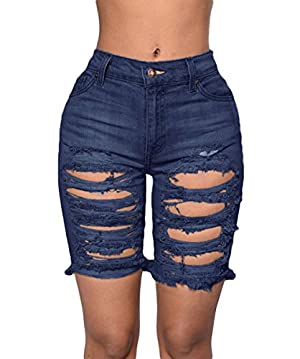 TomYork Destroyed Cutoff Bermuda Shorts(Blue,S)
