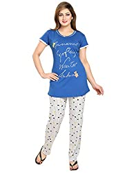 KuuKee Blue Cotton Nightsuit Sets (2677_RoyalBlue_L)