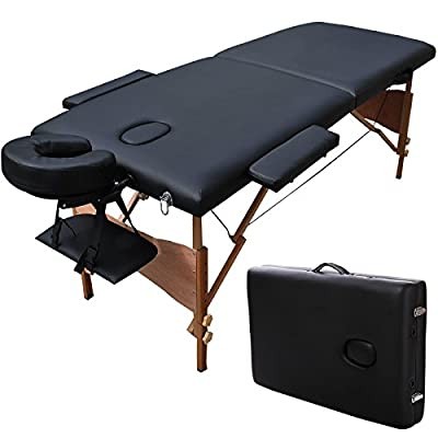 "New 84""l Portable Massage Table Facial SPA Bed Tattoo W/free Carry Case Black Ship USA"