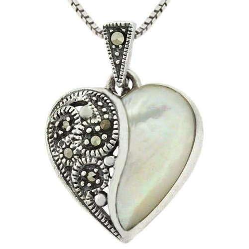 Sterling Silver Marcasite Mother of Pearl Pendant
