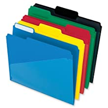 Pendaflex 00515 Pendaflex Hot Pocket Poly File Folders, 1/3 Cut, Top Tab, Assorted Colors, 25 Per Box (00515)