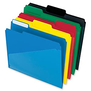 Pendaflex Hot Pocket Poly File Folders, 1/3 Cut, Top Tab, Assorted Colors, 25 per Box (00515)