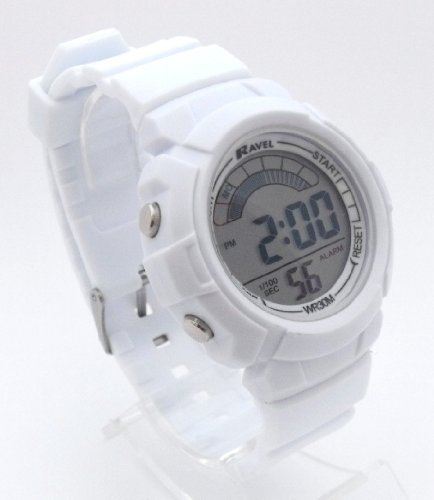 Unisex/Mens/Ladies Digital LCD Chronograph Sports Watch - Gift Boxed - Multi Functional- 15-22cm Strap - 3ATM - White