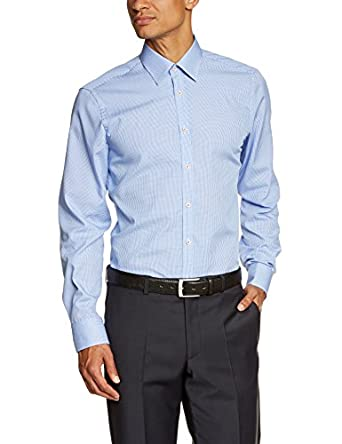 Venti Herren Slim Fit Businesshemd 001860, Gr. Kragenweite: 37, Blau (blau 100)