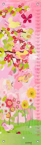 "Oopsy Daisy Cherry Blossom Birdies Growth Chart, Pink/Yellow, 12"" x 42"""