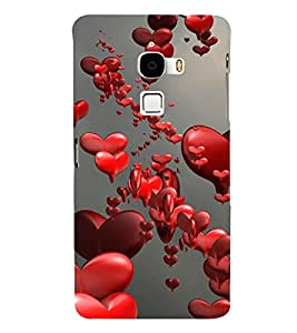 Love Hearts 3D Hard Polycarbonate Designer Back Case Cover for LeTv Le Max :: Letv Le Max X900
