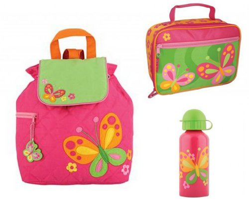 Stephen Joseph Pink Butterfly Quilted Backpack, Water Bottle, & Lunchbox front-1062565