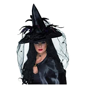 Deluxe Black Witch Hat with Veil