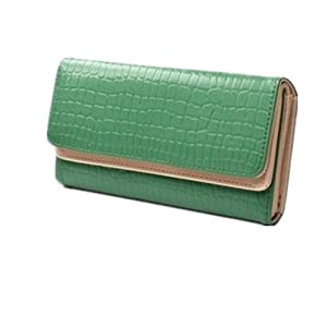 KLOUD City ® Green Synthetic Leather Stone Pattern Double Layer Women Wallet
