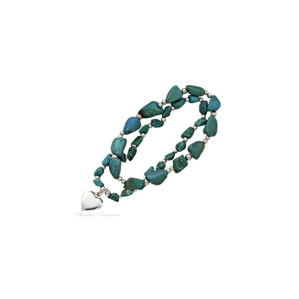 Sterling Silver Turquoise Stone Nugget Stretch Bracelet Heart Charm