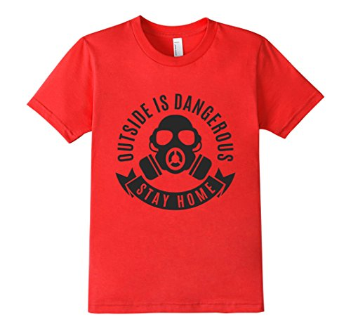 Kids-EmmaSaying-Outside-Is-Dangerous-Mask-Design-T-Shirt-Fun-Tee-Red