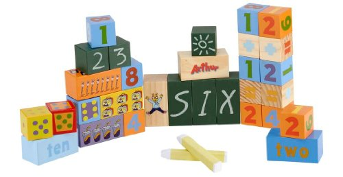 Arthur Chalkboard Blocks: Number Set of 30 Colorful Wooden Blocks