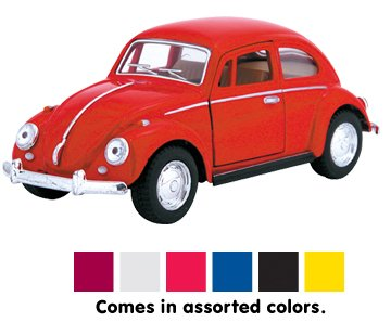 Die Cast 1967 Volkswagen Classical Beetle car, 1:32 scale - Available in Red, Black, Yellow or Blue - Only one included