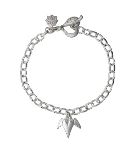 Dower  &  Hall, Charm Collection - Solid Sterling Silver Winged Heart on Oval Belcher Charm Bracelet
