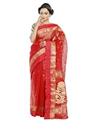 B3Fashion Traditional Ethnic Bengal Red Chequered Weave Handloom Tant/Tangail Cotton Saree With Buti Weaves In...