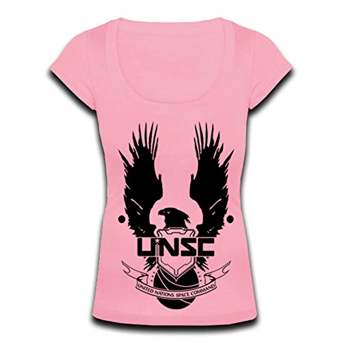 Mafiale Womens Scoop Neck A0374 Unsc Halo T-shirt (XL, pink)