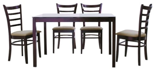Baxton Studio Keitaro Dark Brown 5 Piece Modern Dining Set