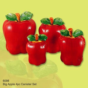 set of 4 apple shaped red ceramic canisters country
