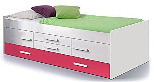 Lit double pour enfant avec 2 portes et 2 tiroirs, coloris blanc / magenta, 65 x 201 x 99 cm -PEGANE-