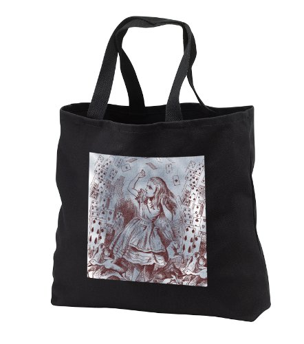 Ps Vintage - Alice With Playing Cards Vintage Alice In Wonderland - Tote Bags - Black Tote Bag 14W X 14H X 3D front-1078167