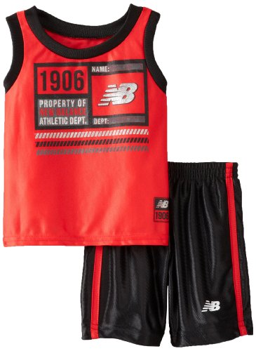 New Balance Baby-Boys Infant Muscle T-Shirt And Athletic Short Set, Black/Red, 24 Months front-1006221