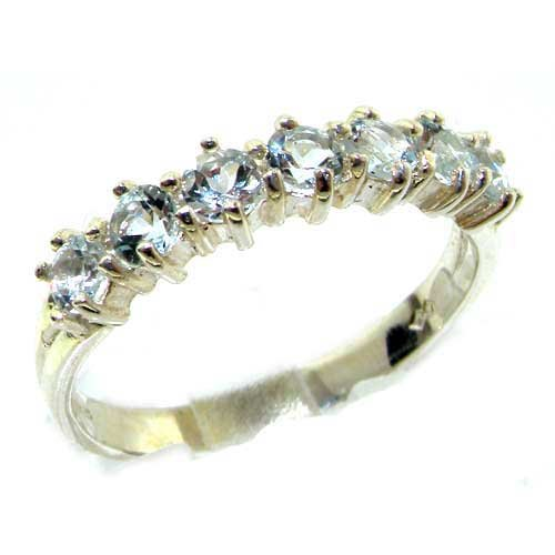 Solid 14ct White Gold Womens Aquamarine Anniversary Eternity Ring - Size P - Finger Sizes K to Y Available - ideal gift for Valentines Day, Mothers Day, Birthday, Christmas, Xmas, Confirmation, Easter
