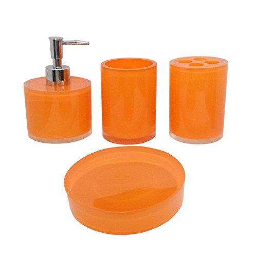 Topmark simply classic bath ensemble 4 piece bathroom for Orange bathroom accessories set