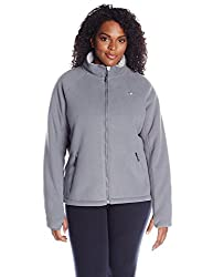 Champion Women's Plus-Size Micro Fleece Sherpa Bonded Jacket, Stony Night, 1X