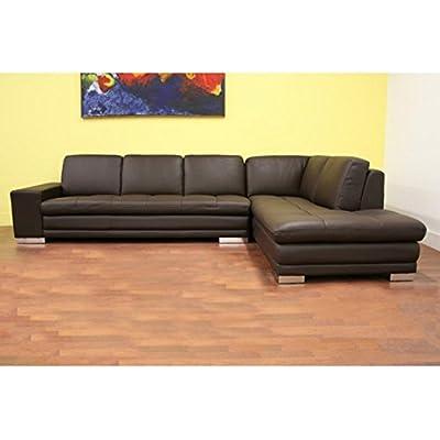 Baxton Studio Princeton Brown Leather Sectional Sofa