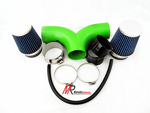 2004 2005 2006 2007 2008 2009 Dodge Dakota All Model with 3.7 V6, 4.7L V8 Engine Green Piping Short Ram Dual Air Intake System Kit with blue Filter
