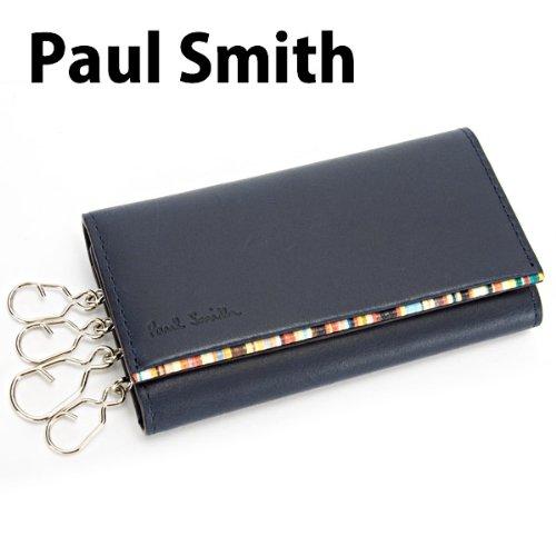ポールスミス Paul Smith メンズ キーケース 4連 メンズ レザー 本革 ネイビー×マルチストライプ PSU052-190 [ウェア&シューズ]