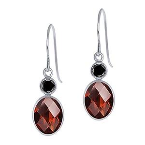 3.04 Ct Oval Checkerboard Red Garnet Black Diamond 14K White Gold Earrings