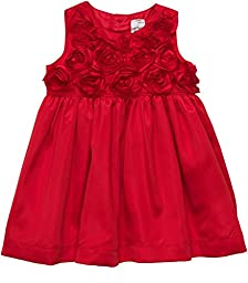 Carter\'s Satin Dress w/ Rosettes - Red-NB