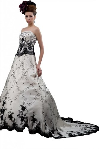 Whatabeautifullife Women's Satin Strapless Black Embroidery Sweep Wedding Gown Size 10 Color White