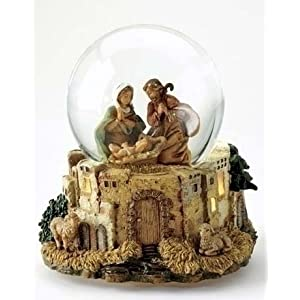 Click to buy Italian Christmas decorations   : Set of 2 Fontanini musical lighted nativity glitterdomes from Amazon!