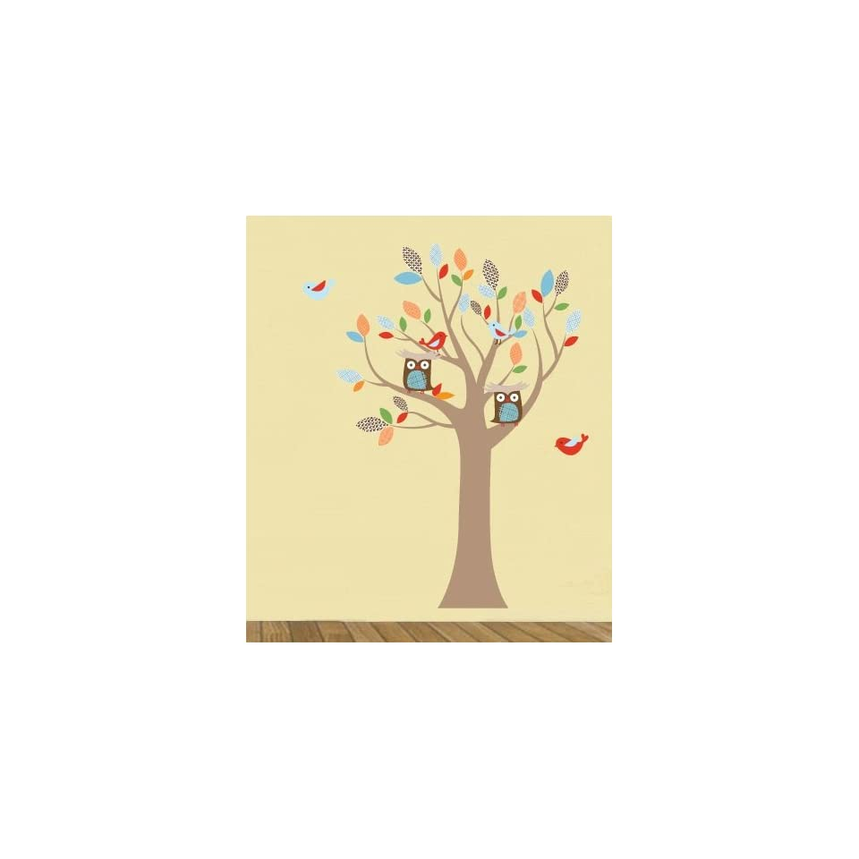 Kids tree vinyl wall decal with birds owls and pattern leaves
