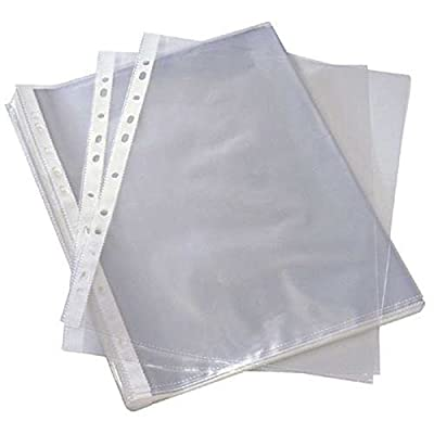 100 X A4 Clear Plastic Punch Punched Pockets Folders Filing Wallets Sleeves
