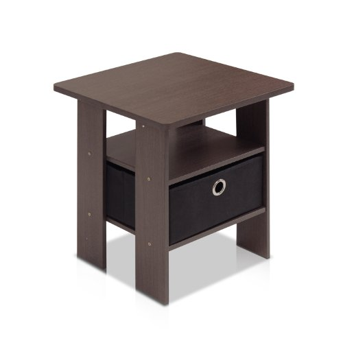 furinno 11157dbr bk end table bedroom night stand w bin