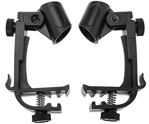 pair-of-black-drum-microphone-clips-mount-kit-clamp-holder-snare-groove-gear