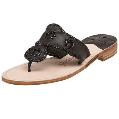 Jack Rogers Women's Palm Beach Navajo Classic Sandal,Black/Black Patent,5 M