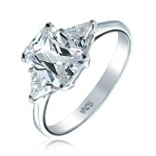 buy Bling Jewelry Three Stone Cz Trillion Emerald Cut Engagement Ring 925 Silver