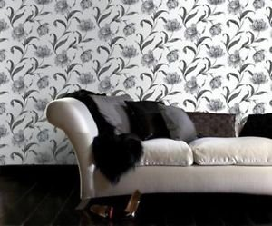 Fresco Watercolour Floral Wallpaper - Grey by New A-Brend
