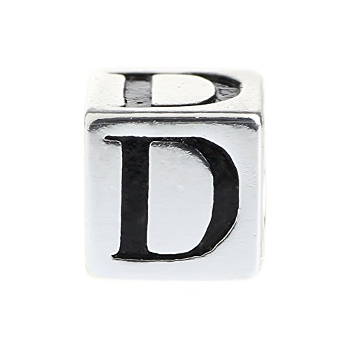 Beads Hunter Alphabet Letter Initial D 925 Sterling Silver Charm Fit European 3mm Bracelet
