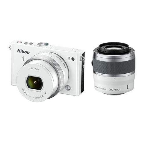 Nikon 1 J4 Mirrorless Digital Camera 2 Lens Kit With 10-30Mm & 30-110Mm Lenses, White - Bundle With Camera Bag. 16Gb Class 10 Micro Sdhc Card, Cleaning Kit, Sd Card Reader
