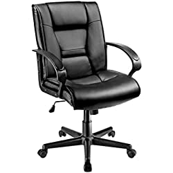 Brenton Studio(R) Ruzzi Mid-Back Vinyl Chair - Black
