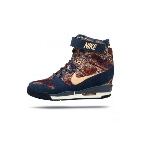 Nike Air Revolution Sky Hi Liberty Qs Women Sneakers Armory Navy/Vachetta Tan 632181-402 (Size: 8.5) front-87195