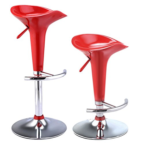 MasterPanel - Set of 2 Modern Bombo Red Style Swivel Barstools Adjustable Counter Chair Bar Stools #TP3246