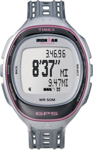 Timex Women's T5K629 Ironman Run Trainer GPS Speed + Distance Silver-Tone/Pink Resin Strap Watch