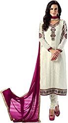 Shenoa Women's Faux Georgette Unstitched Dress Material(9504, White)