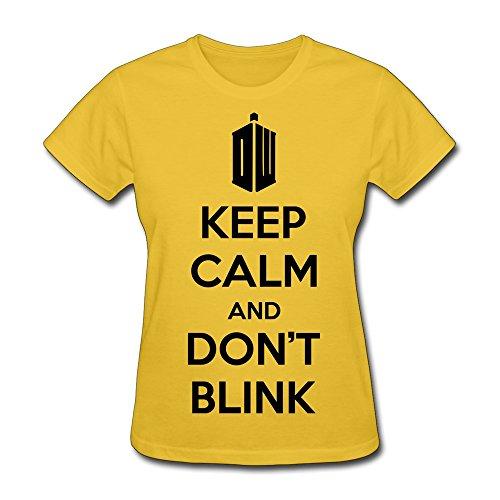 Hd-Print Women'S Tshirts Keep Calm Dont Blink Xl Yellow
